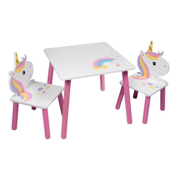 licorne table et 2 chaises pour enfant