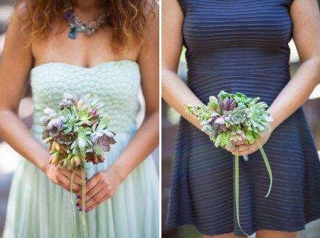 Artistic Post-Apocalyptic Nature Woodland California Wedding Bridesmaid Succulent Bouquets http://www.lovatoimages.com/