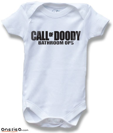 Call of Doody Bathroom Ops Duty MW3 Black Ops Gamer Geek Funny Saying Baby One Piece Bodysuit for Boys and Girls Cute Baby Shower Gift. $11.99, via Etsy.