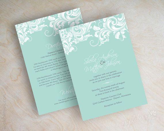Mint Wedding Invitations, Filigree Wedding Invitation, Victorian Wedding  Invitations, Wedding Stationery, Mint