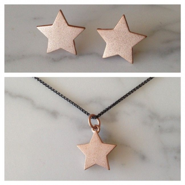 Set from Star earrings and Star necklace with pink gold mat surface Price: 47€