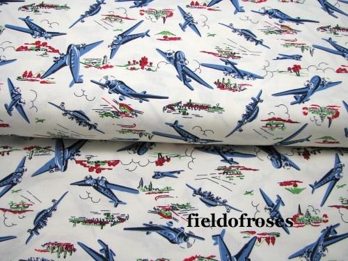 Wild blue yonder airplane michael miller fabric by the for Airplane fabric by the yard