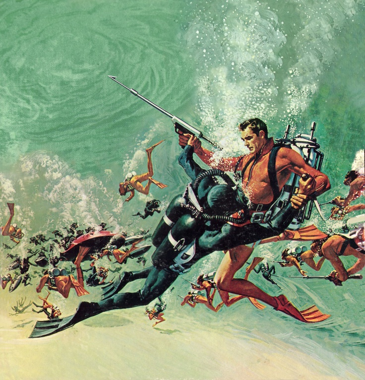 """Look Down / Underwater Battle"" from Thunderball - art by Frank McCarthy (my favorite bond movie PCC)"