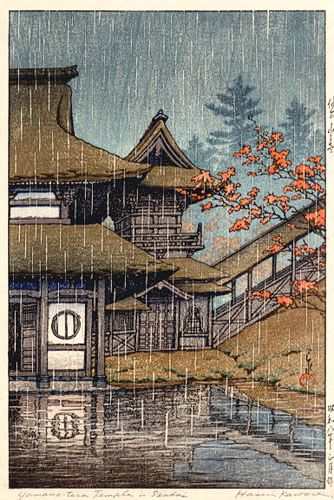 hanga gallery . . . torii gallery: Rain at Mountain Temple, Sendai by Kawase Hasui