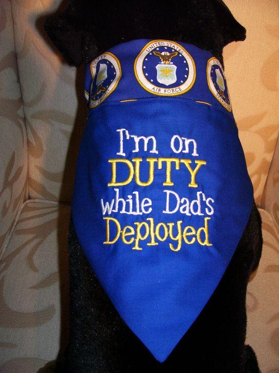 I'm on DUTY While Dad's Deployed, US Air Force Dog Reversible Bandana, Large 14.50