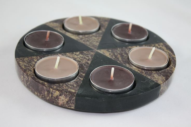All time favorite.... a beautiful solid piece with 2 tones of colour made of natural stone, holds 6 tea lite candles