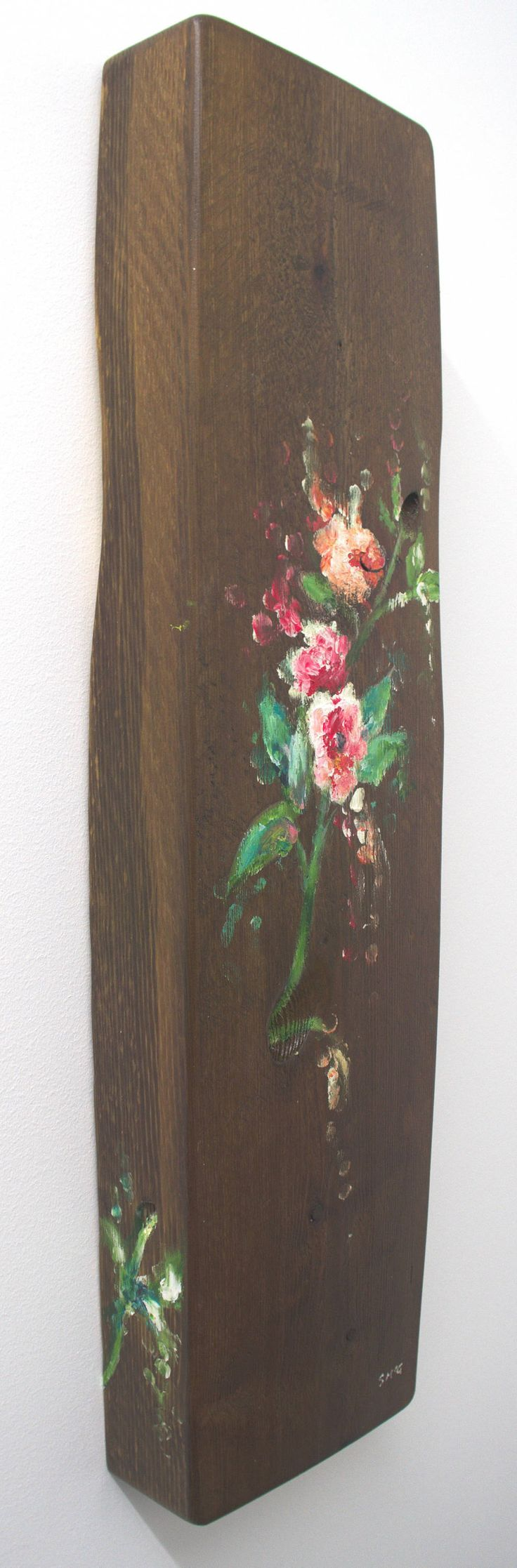 Original art on wood flowers three dimensional abstact impressionist pinks greens yellows reds dark wood art decor wall acrylic rustic art by Paintzstudio on Etsy