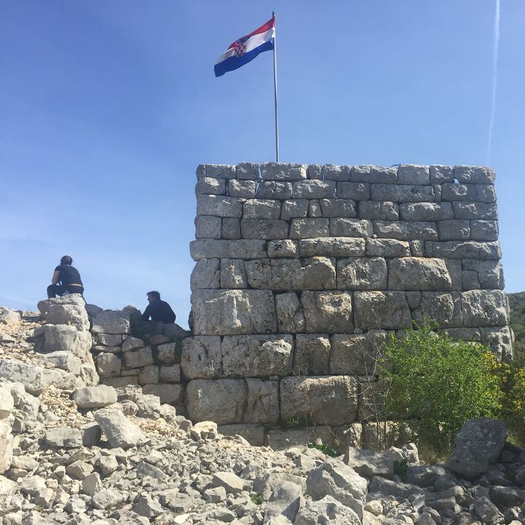 Ancient Greek fortification tower - Tor - near Jelsa on the island of Hvar in Croatia, today. A lovely though steep walk to reach it affording stupendous views.