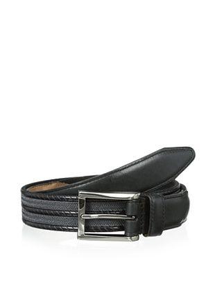 47% OFF Lejon Men's Braided Herringbone Belt (Black/Grey)