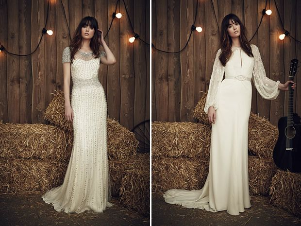 The Dallas dress from Jenny Packham's 2017 wedding collection is pure glamour while the Heather gown is a #bohobrides dream. #weddingdresses #countrywedding #longsleevedweddingdresses