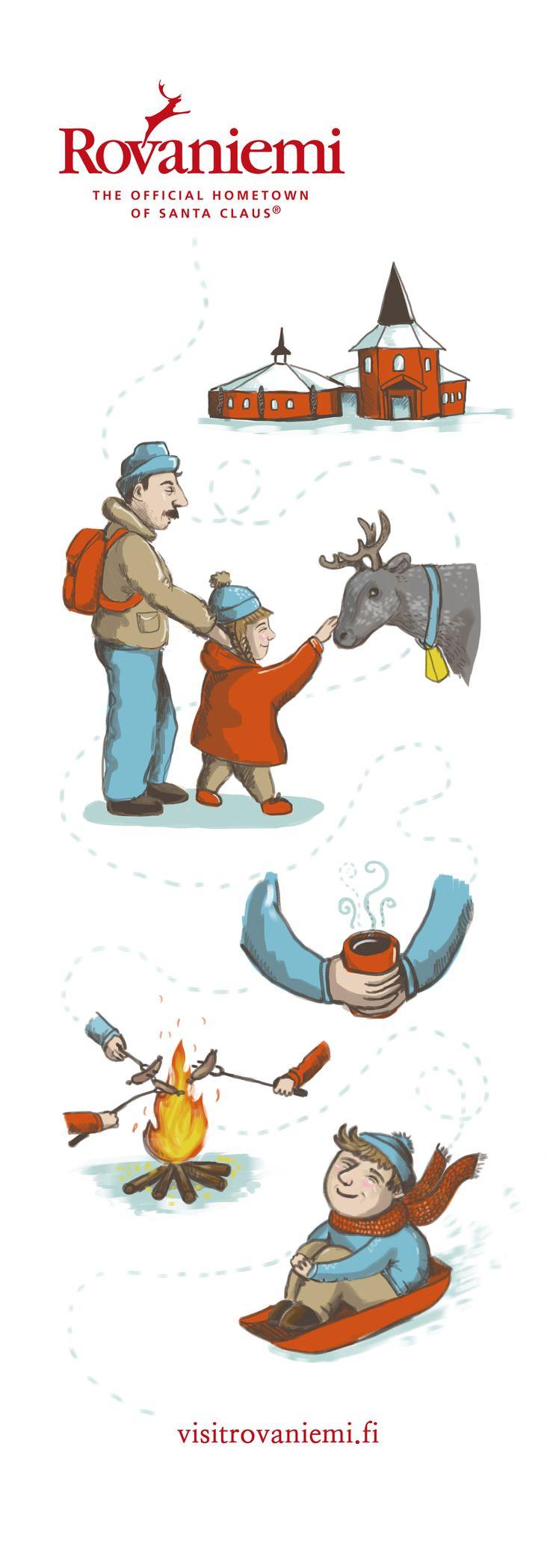 Schoolwork,  Imagined advertising for visitrovaniemi.fi By Mikko Roininen #Rovaniemi #illustration #visitrovaniemi