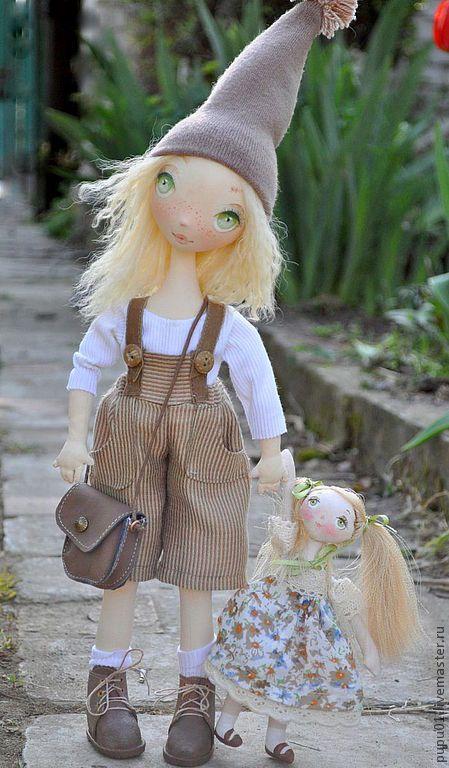 Купить Коллекционная кукла Веснушка - ярко-зелёный, коллекционная кукла, авторская кукла