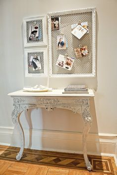 Create hallway messenger boards out of gilded frames and metal-mesh radiator grilles like home blogger Stefanie Schiada.