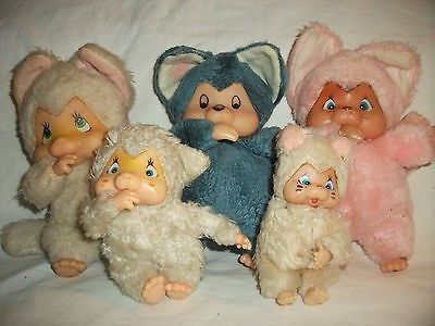 Group of five Original Vintage Chicaboo cats that suck thumbs! 1980's? Selling as a group - fur is matted and are starting to show their age! All have seen better days but they are looking for a new h