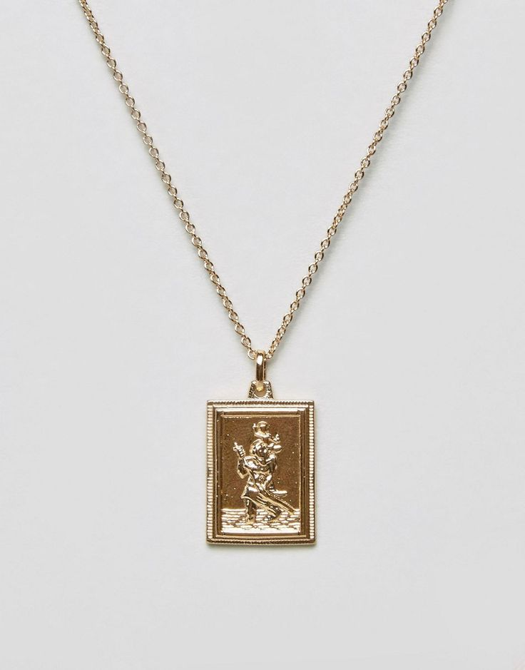 ASOS Vintage Style St. Christopher Rectangle Tag Necklace - Gold