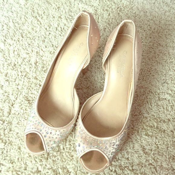 Embellished Satin pale pink and cream high heel Super comfortable ! Very lightly worn Carvela Shoes Heels
