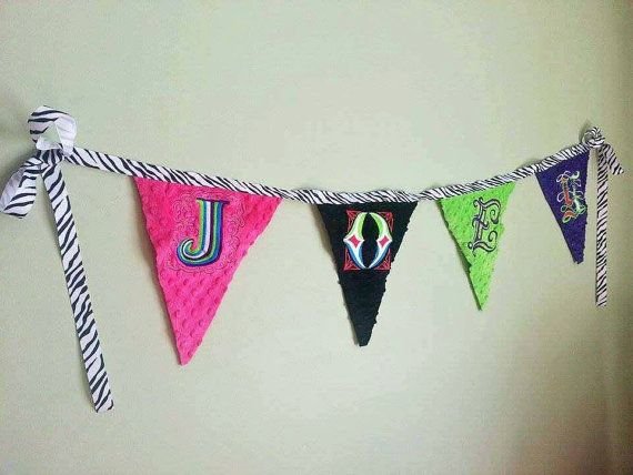 Banner flag  room decoration minky name flag by KnuffelStuff