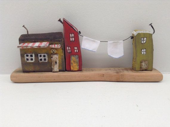 102  3 small houses with laundry line hand by Greytimberwolfcrafts