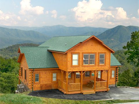 Clear View - This four-bedroom cabin has breathtaking mountain views from the front and back porches and decks.