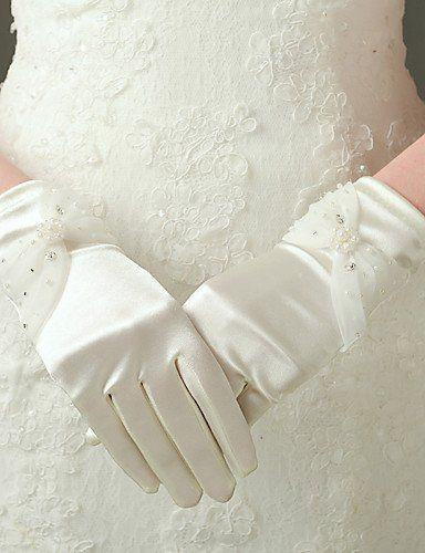 ZY/ Al gomito Con dita Guanti Nylon / Raso elasticizzato Guanti da sposa / Da sera/eleganti Primavera / Estate / Autunno / Inverno Perline , ivory-m , ivory-m