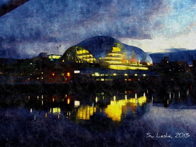 The Sage Centre, Gateshead. Photo taken from Millenium Bridge at dusk. Su Leslie: 2013. Shot with iPhone4, edited with Pixlr Express.