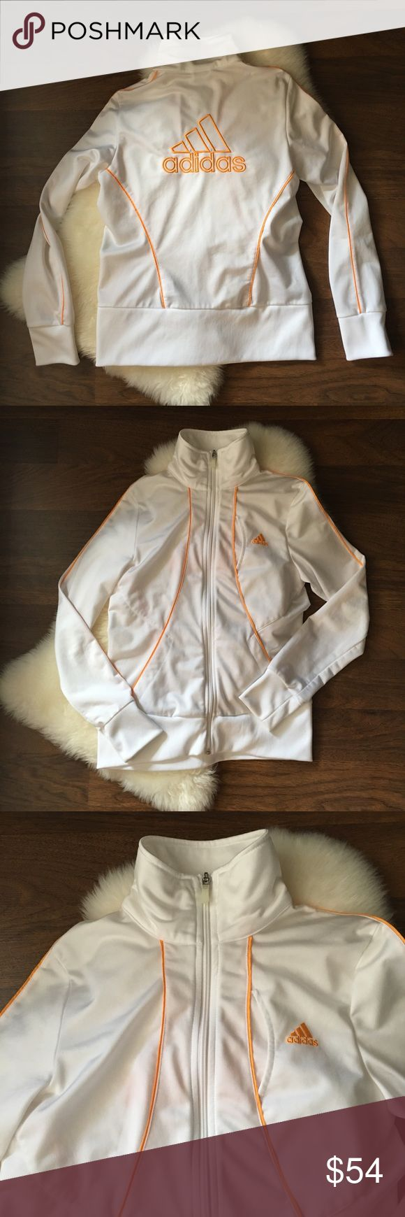Adidas white zip up jacket with orange trim Adidas  White zip up jacket with orange trim  Size medium   🚭 Comes from a smoke-free home  🍀 No rips, tears, or stains 🦋 Excellent used condition adidas Jackets & Coats