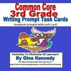 "EXCELLENT COMMON CORE WRITING PROMPT TASK CARDS FOR 3RD GRADERS, STANDARDS INCLUDED!  A must for every 3rd grade classroom, 25 Common Core colorful fun ""Writing Prompt Task Cards"" with creative writing prompts that connnect to the 3r..."
