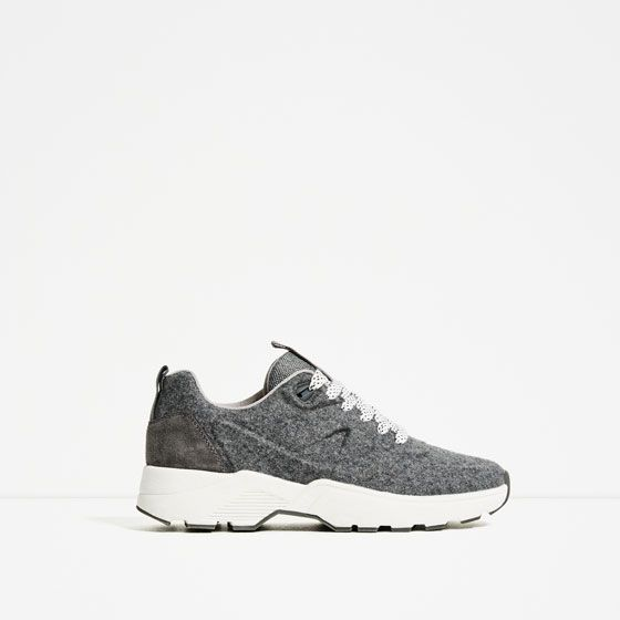 Image 2 of FELT LACE-UP SNEAKERS from Zara