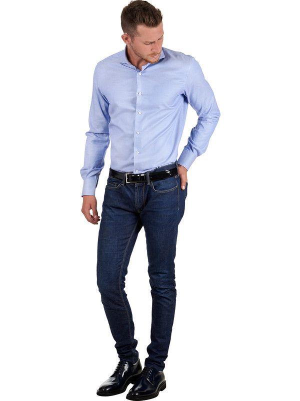 Dobby shirt elegant cotton light blue fabric Delsiena