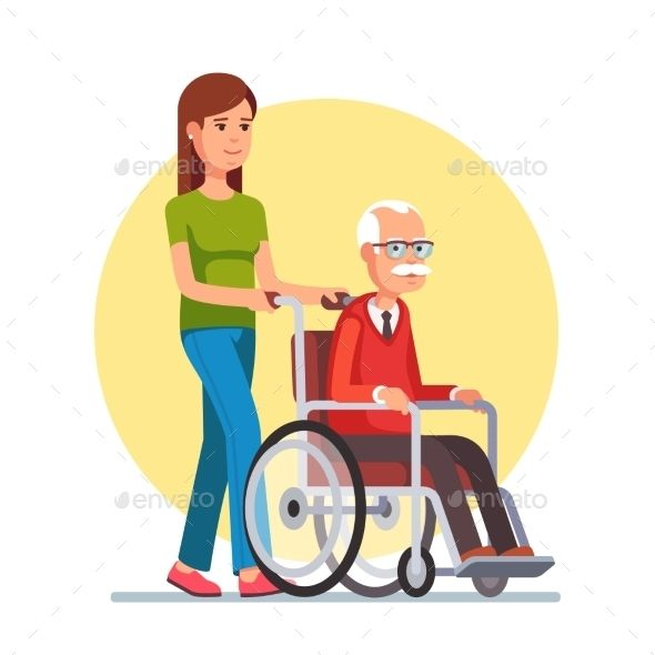 Home Design Ideas Buch: Woman Strolling With Elder Man In Wheelchair