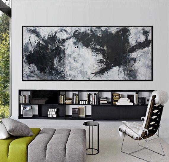 72 x 30 grande negro blanco pintura abstracta pintura horizontal minimalista - convertirse en un marco flotante de héroe negro Elena