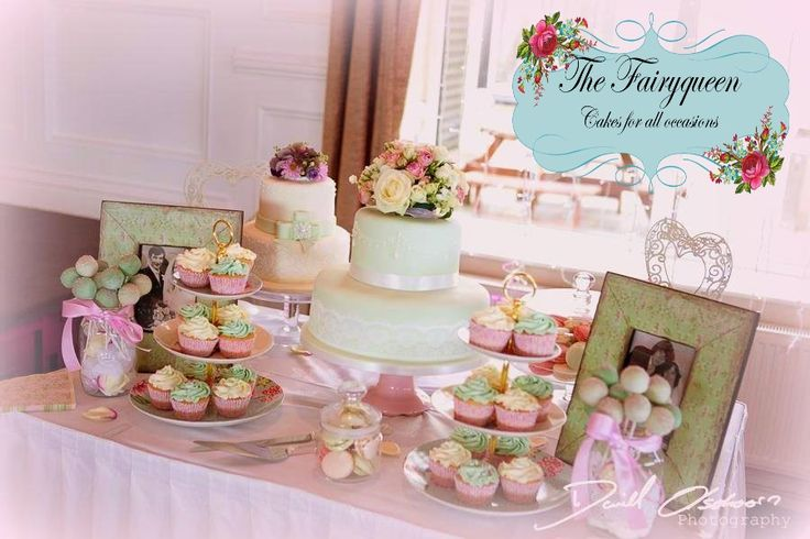 Pale green lace wedding cakes with matching cupcakes and cakepops