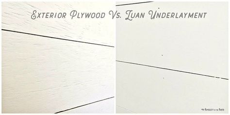 """Most DIY shiplap tutorials I've seen use 4' X 8' sheets of 1/4″ luan underlayment ripped down to 6"""" to 8"""" wide planks. We've used 1/4″ underlayment as faux shi…"""