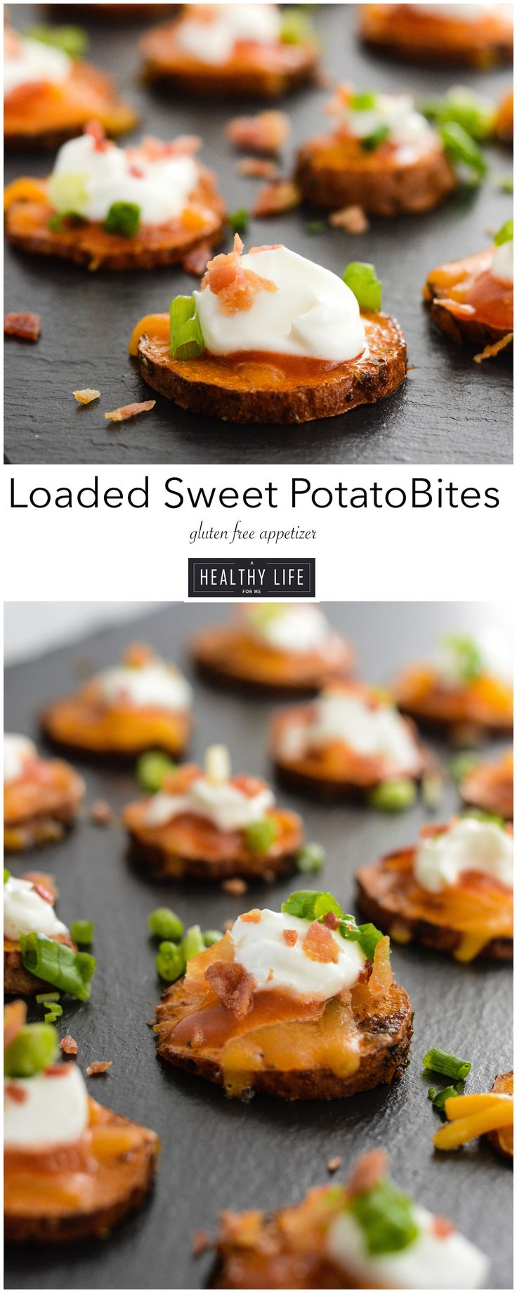 Loaded Sweet Potato Bites are a perfect mouthful of deliciousness.  Perfect for the watching the game, an appetizer for Thanksgiving or just cause you can, cause they are just that good. - A Healthy Life For Me