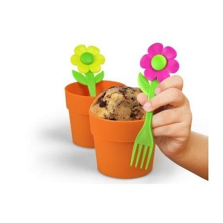 Moule pour cupcake en forme de pot de fleur avec fourchette en fleur