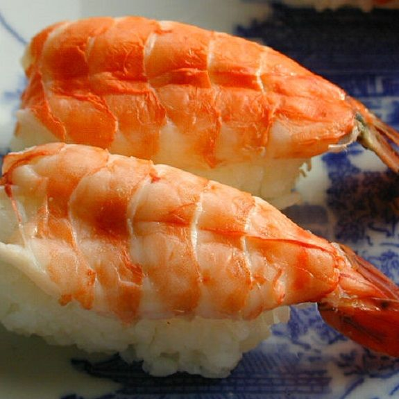 Cooked shrimp sushi.Very popular and tasty Japanese appetizer.