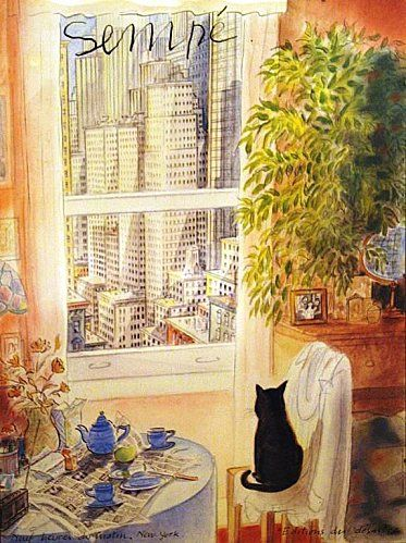 sempe-chat-noir............THIS IS A CITY KITTY ---DREAMING OF THE GOOD OLE COUNTRY LIFE---.............ccp