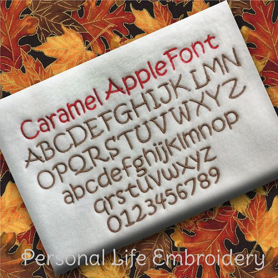 Hi, and thanks for your interest in Personal Life Embroidery Designs!  NOW AVAILABLE: BX Fonts! The Caramel Apple Font set.....This font includes all uppercase, lowercase, and numbers. It comes in 3 sizes: .75, 1, and 1.5. The zip file contains the following formats: BX, DST, EXP, HUS, JEF, PES, VIP, VP3, and XXX.The height measurement is based on the size of the capital letters.  Join my Facebook Group and be the first to get sneak peaks, FREEBIES and amazing coupons…