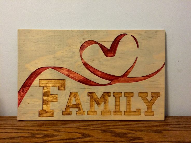 Love Family Heart Ribbon Hanging Wall Decor Carved into Upcycled Wood Hand Painted by RummWoodWorx on Etsy