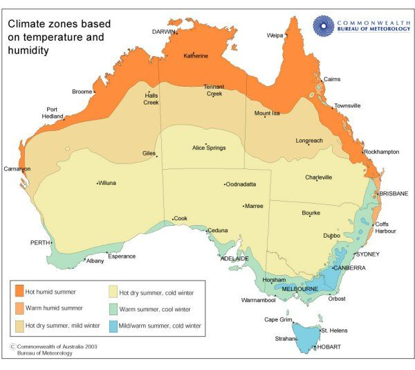 Map of the climatic zones of Australia (based on temperature and humidity)