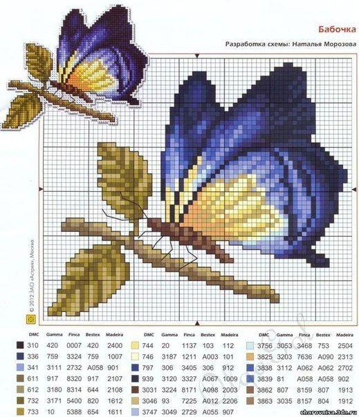 Mariposa en punto en cruz - Imagui                                                                                                                                                     Más