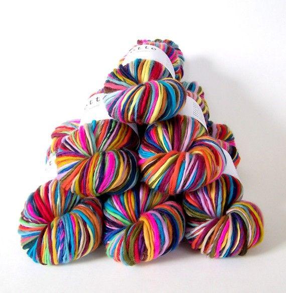 rainbow self striping handspun merino wool yarn