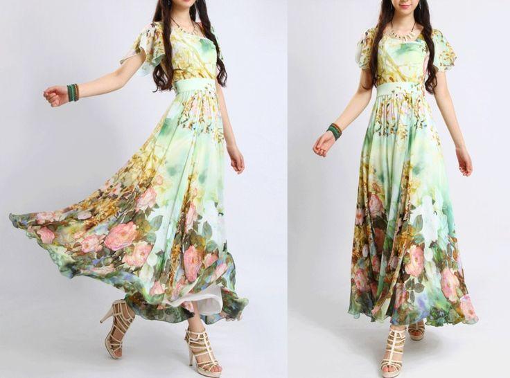 Grüne Blumen-Partei süße Chiffon-Kleid von ChineseHut auf DaWanda.com