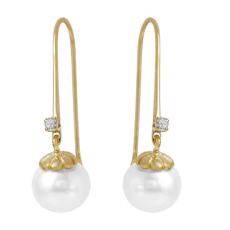 Ladies 14K Solid Gold Fish Hook Earrings W/Diamonds & Pearls