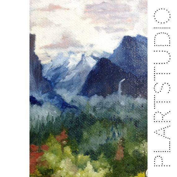 Oil painting 15x20cm 5.9x7.9 mountains and forest by PlartStudio, $57.00