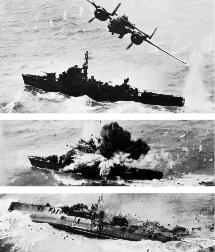 B-25 Mitchell skip-bombs a Japanese Kaibokan escort ship, 6 April 1945