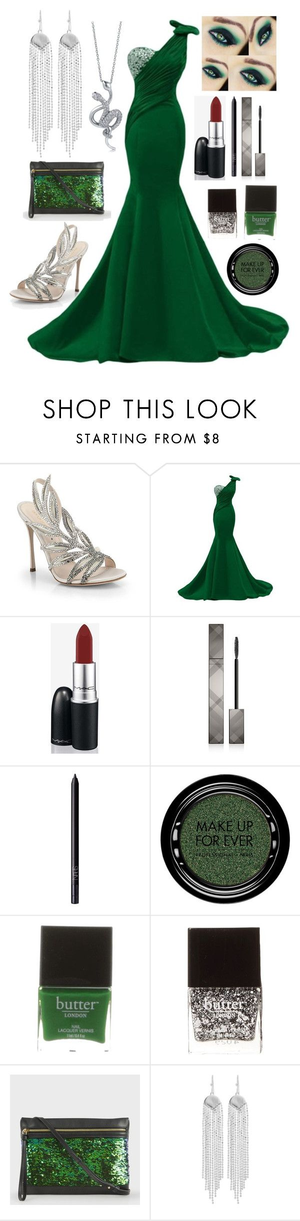 """Slytherin Yule Ball //Annabeth"" by the-fandom-gals ❤ liked on Polyvore featuring Sergio Rossi, CO, MAC Cosmetics, Burberry, NARS Cosmetics, MAKE UP FOR EVER, Butter London, Paul Smith, Oxxo and BERRICLE"