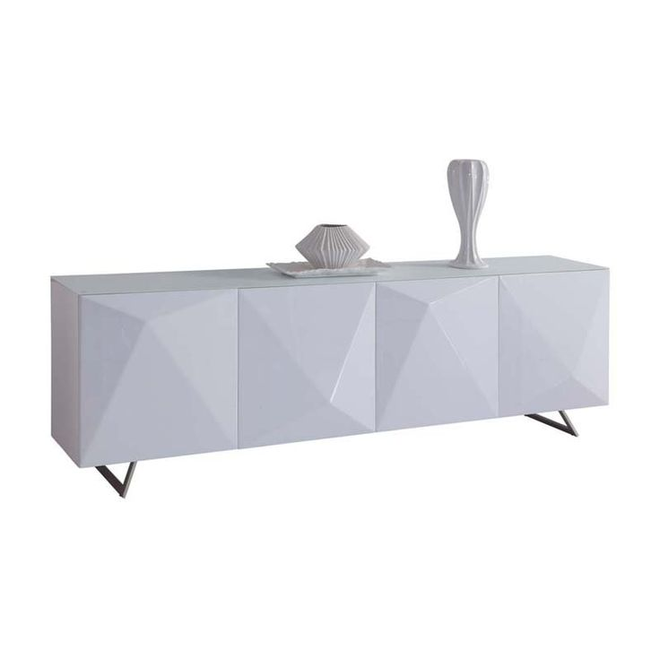 Samantha Sideboard, Crystal Pure Tempered White Glass Top, High Gloss  White, Design On Doors, Nickel Brushed Legs.