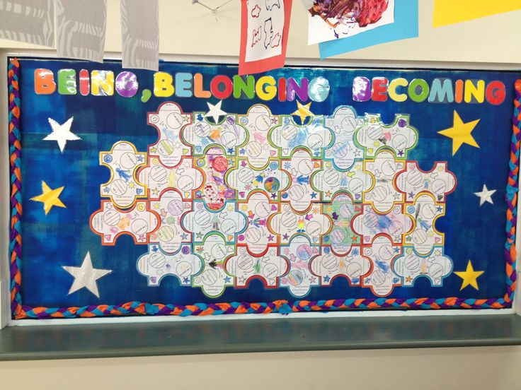 This is our new being, belonging & becoming board . Each child completed this is me sheet which shaped as a puzzle piece. They wrote their name, what they like, what they like to achieve this year and what they would like to be when they grow up . It's really great seeing parents standing there reading & discussing the comments with their children .