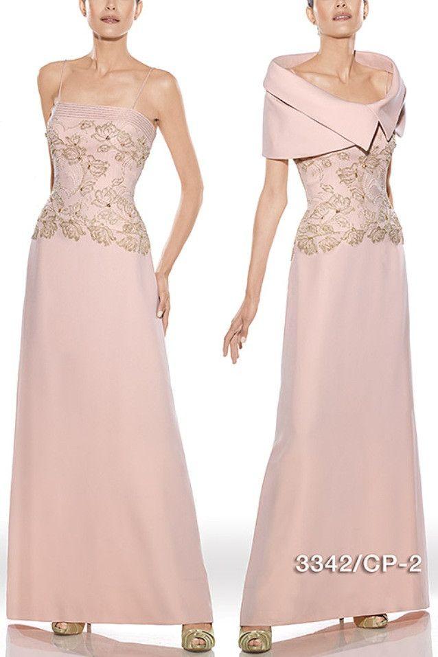 Vestido de fiesta largo color nude modelo 3342 de Teresa Ripoll by Teresa Ripoll | Boutique Clara. Tu tienda de vestidos de fiesta.